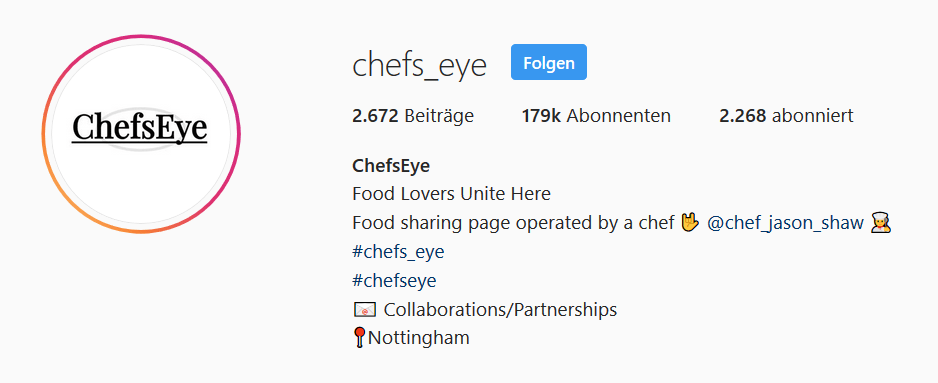 chefs eye instagram